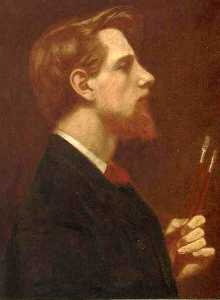 Thomas Cooper Gotch - Self-Portrait with Two Sq..