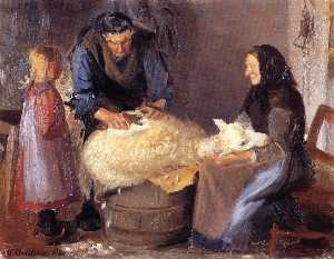 Anna Kirstine Ancher - Sheep Shearing