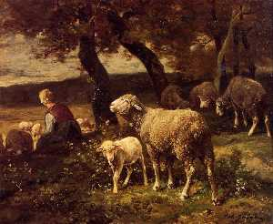 Charles Émile Jacque - Shepherdess and Sheep
