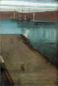 James Abbott Mcneill Whistler - Sketch for Nocturne in Blue and Gold: Valparaiso Bay----