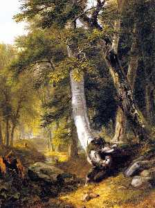 Asher Brown Durand - Sketch in the Woods (also..