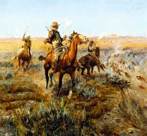 Charles Marion Russell - Smoking Cattle Out of the..