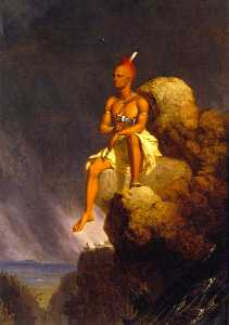 Charles Deas - A Solitary Indian, Seated on t..