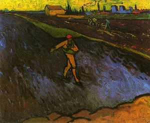 Vincent Van Gogh - The Sower: Outskirts of Arles in the Background