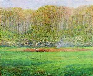 Dwight William Tryon - Spring Landscape with a Farmer and White Horse