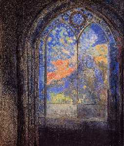 Odilon Redon - Stained Glass Window (also known as The Mysterious Garden)