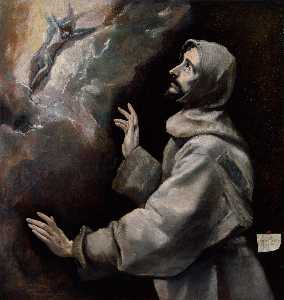 El Greco (Doménikos Theot.. - St. Francis receiving the..