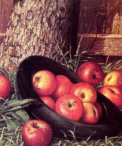 Levi Wells Prentice - Still Life of Apples in a Hat