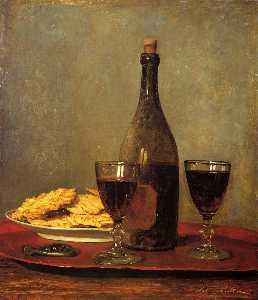 Albert Samuel Anker - Still Life: Two Glass of Red Wine, a Bottle of Wine, a Corkscrew and a Plate of Biscuits on a Tray