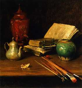 William Merritt Chase - Still LIfe with Brushes a..
