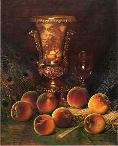 William Mason Brown - Still Life with Peaches and Marble Vase