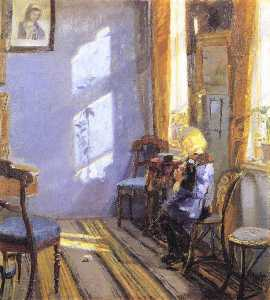 Anna Kirstine Ancher - Sunlight in the Blue Room