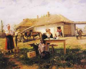 Vladimir Yegorovich Makovsky - Teacher Visiting a Village