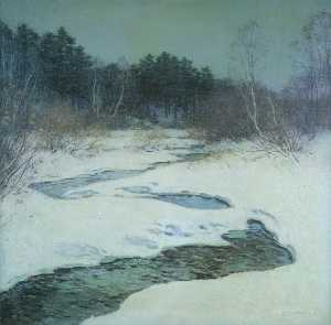 Willard Leroy Metcalf - Thawing Brook No.2