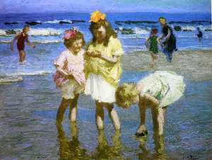 Edward Henry Potthast - Three Girls at the Seasho..