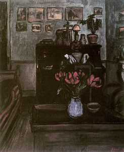 Jozsef Rippl Ronai - Twilight in an Intimate Room