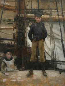 Henry Scott Tuke - Two Children on Deck