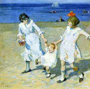 Edward Henry Potthast - Two Females Swinging a Ch..