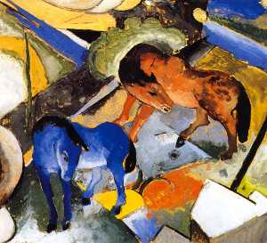 Franz Marc - Two Horses in Landscape