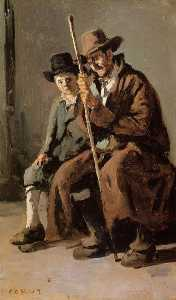 Jean Baptiste Camille Corot - Two Italians, an Old Man and a Young Boy