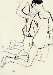 Egon Schiele - Two Kneeling Figures (also known as Parallelogram)