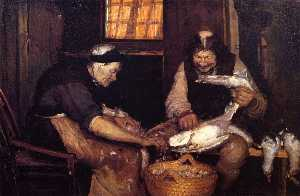 Anna Kirstine Ancher - Two Oldsters Plucking Gulls