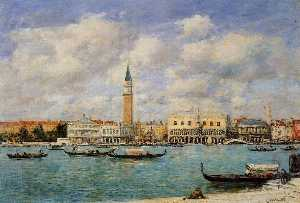 Eugène Louis Boudin - Venice, the Campanile, View of Canal San Marco from San Giorgio