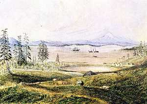 James Madison Alden - View from Hill on San Juan Island Looking South with Ontario Roads, Active and Ewing at Anchor, Lopez Island and Mount Baker in the Distance