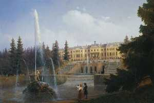 Ivan Aivazovsky - View of the Big Cascade in Petergof and the Great Palace of Petergof
