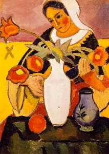 August Macke - Woman Playing the Lute