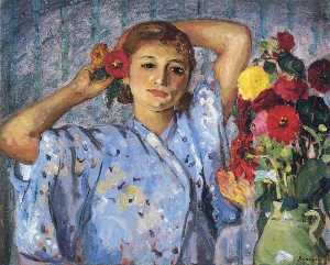 Henri Lebasque - Young girl with flowers
