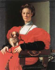 Agnolo Bronzino - Portrait of a Lady with a Puppy