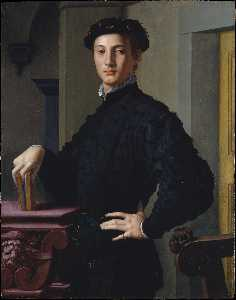 Agnolo Bronzino - Portrait of a young man w..
