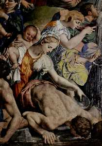 Agnolo Bronzino - Moses strikes water from ..