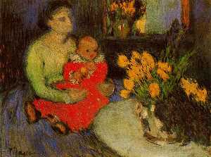 Pablo Picasso - Mother and child behind the bouquet of flowers