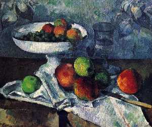 Paul Cezanne - Compotier, Glass and Apples