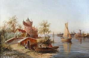 William Raymond Dommersen - The Toll House, Enkhuizen, Holland Signed Lower Right_2