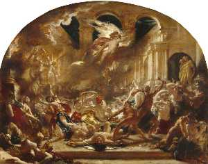 William Etty - The Destroying Angel And Daemons Of Evil Interrupting The Orgies Of The Vicious And Intemperate
