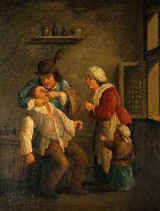 Andries Both - A Toothdrawer Operating On A Man, With A Woman And Child Looking On