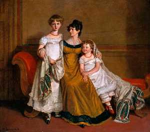 Alfred Edward Chalon - Portrait Of A Woman With Two Children In A Domestic Interior