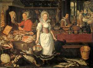Pieter Cornelisz Van Rijck - Kitchen Interior With The Parable Of The Rich Man And The Poor Lazarus.