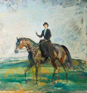 Alfred James Munnings - Lady Munnings Riding A Ba..
