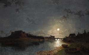Henry Pether - Chester Castle By Moonlig..