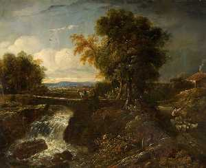 James Netherlands - Bridge And Waterfall Scene