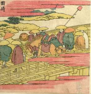 Katsushika Hokusai - Travelers On A Bridge