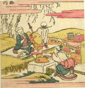 Katsushika Hokusai - Two Men Drinking Tea