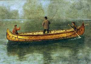 Albert Bierstadt - Fishing from a Canoe