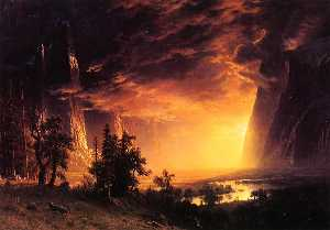 Albert Bierstadt - Sunset in the Yosemite Va..