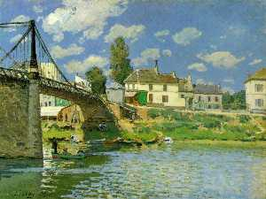 Alfred Sisley - Bridge at Villeneuve la Garenne - -