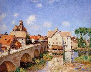 Alfred Sisley - The bridge in Moret Sun